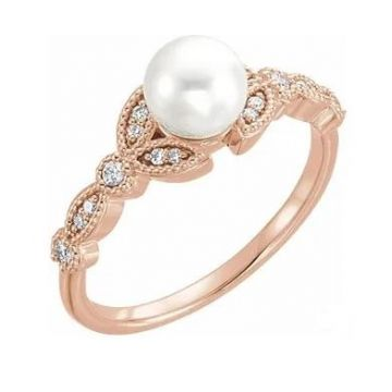 14K Rose Freshwater Pearl & 1/10 CTW Diamond Leaf Ring