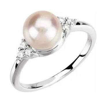 14K White 7.5-8 mm Freshwater Cultured Pearl & 1/8 CTW Diamond Ring