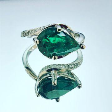 14k White Diamond Emerald Ring 2 3/4 Carat