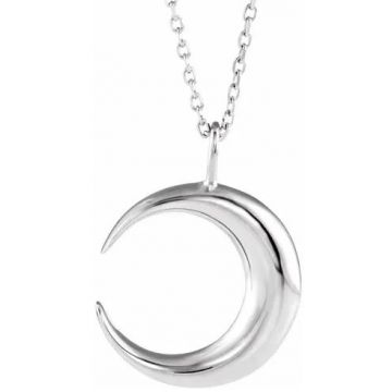 """Sterling Silver Crescent Moon 16-18"""" Necklace"""
