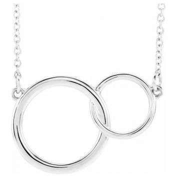 """Sterling Silver 20x14 Interlocking Circle 16""""-18"""" Necklace"""