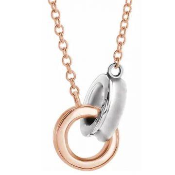 """14k Two-Tone Rose/White Interlocking Circle 16-18"""" Necklace"""