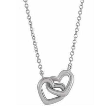 "Sterling Silver Interlocking Hearts 16-18"" Necklace"