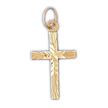 14k Yellow Gold Diamond Cut Cross