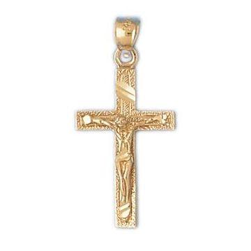 14k Yellow Gold Crucifix Cross with Diamond Cut Finish