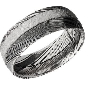 Lashbrook Black & White Damascus Steel Meteorite 8mm Men's Wedding Band