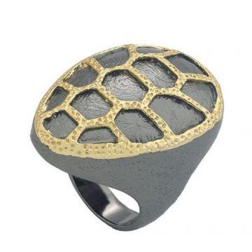 Jorge Revill 925 Fashion Ring with 18k & Black Ruthium Finish
