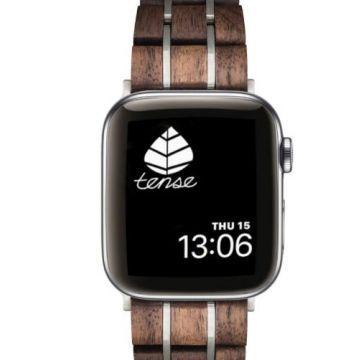 Tense Apple Watch Bands Walnut/Silver 42-44mm
