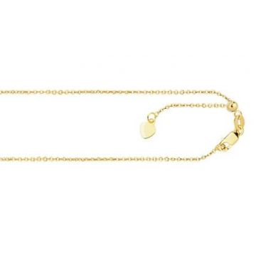 14K Gold .9mm Adjustable Cable Chain