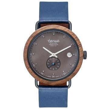 Gents Hudson Leather Walnut Black Tense Wooden Watch