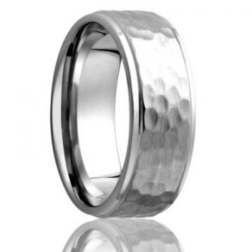 Gents Cobalt Hammered Finish Wedding Band