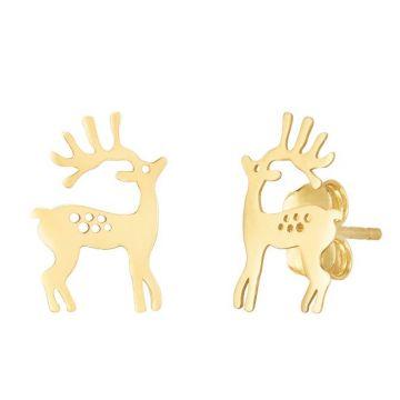Holiday Treasures 14k Raindeer Stud Earrings