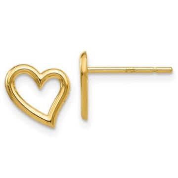 14k Yellow Open Heart Earrings