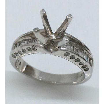 14k White Gold 0.48 Carat Diamond Engagement Ring Semi-Mount