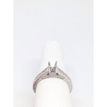 14k White Gold .36 Diamond Engagement Ring Semi-Mount