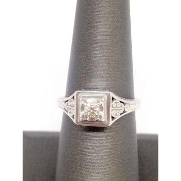14k White Gold Modern Antique Diamond Ring w/.15 Carat