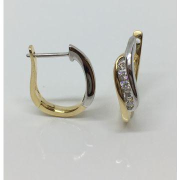 14k Two Tone 1/4 CTW Diamond Fashion Earrings