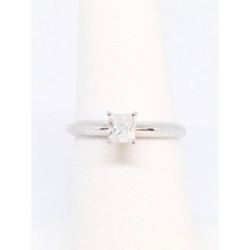 14k White Gold Solitaire Engagement Ring w/.33 Princess Cut Center