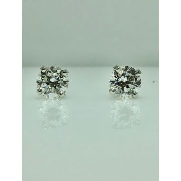 14k white gold diamond stud earrings G/H SI2 (1.01ctw)
