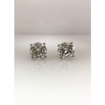14k white gold diamond stud earrings K I1 (2.92ctw)