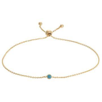 "14k Yellow Gold Reversible Turquoise Fashion Bolo Bracelet 9.5"""