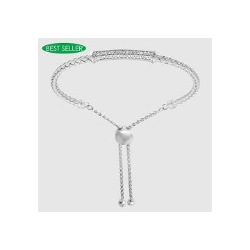 Charles Garnier RACHEL 925 Sterling Silver Woven Bar Bolo Bracelet