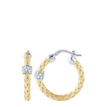 Charles Garnier Sterling Silver Mesh Hoop Earrings, 25mm With CZ, 18k Yellow Gold Finish