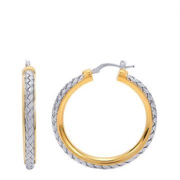Charles Garnier 35mm Sterling Mesh Hoop Earrings With Rhodium Finish