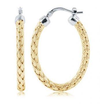 Charles Garnier 35mm Sterling Silver Oval Hoop Earrings w/ 18k Yellow Gold Finish