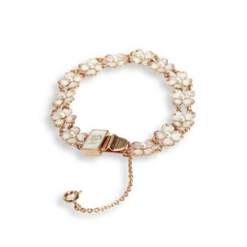 Rose Gold Plated Sterling Silver Dogwood Bracelet-White. Freshwater Pearl