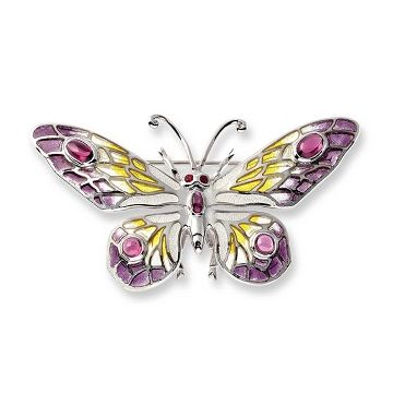 Sterling Silver Butterfly Brooch-Purple.Ruby,Rhodolite.