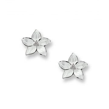Sterling Silver White Stephanotis Stud Earrings. White Sapphires.