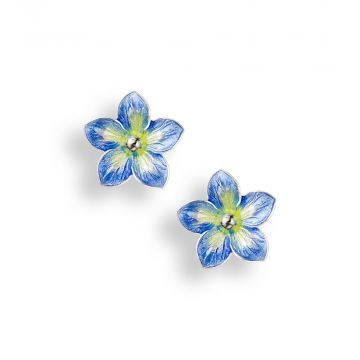 """New"" Nicole Barr Sterling Silver Forget-me-not Stud Earrings-Blue-Small"