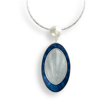 Nicole Barr Sterling Silver Necklace-Oval-Blue-Pearl