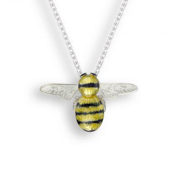 Sterling Silver Bee Necklace. Yellow-Black.