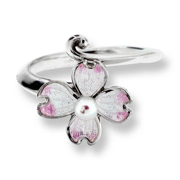 Sterling Silver Dogwood Ring-White. Pinkish Akoya Pearls