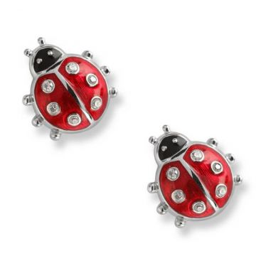 Nicole Barr Sterling Silver Lady Bug Earring with White Sapphires