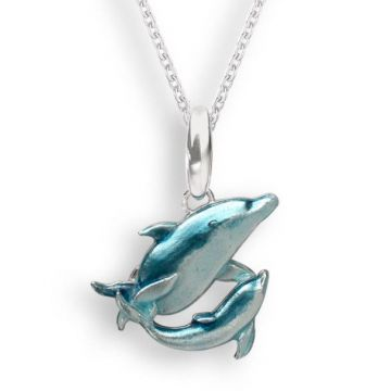 Nicole Barr Blue Dolphin Sterling Silver Necklace