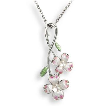 Nicole Barr White Dogwood Sterling SIlver Necklace