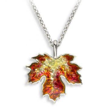 Nicole Barr Orange Maple Leaf Necklace