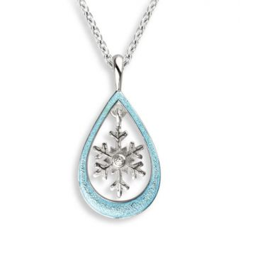 Nicole Barr Blue Snowflake Necklace with White Sapphires