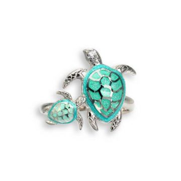 Nicole Barr Green Turtle Ring in Sterling Silver and White Sapphires