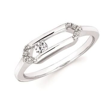 1/8ctw Sliding Diamond Ring in 10k White Gold