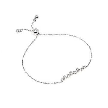 1/5 ctw Diamond Bolo Bracelet in 14k White Gold