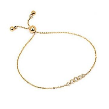 14k Yellow Gold Diamond Fashion Bolo Bracelet