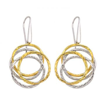 """New"" Jorge Revilla Sterling Silver Dangle Earrings with 18k Yellow Finish"
