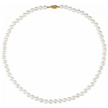 14k 7-8mm 'AA' White Saltwater Akoya Cultured Pearl Necklace
