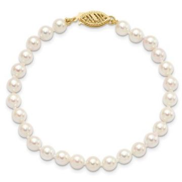 14k 7-8mm Round White Saltwater Akoya Cultured Bracelet 7 inches