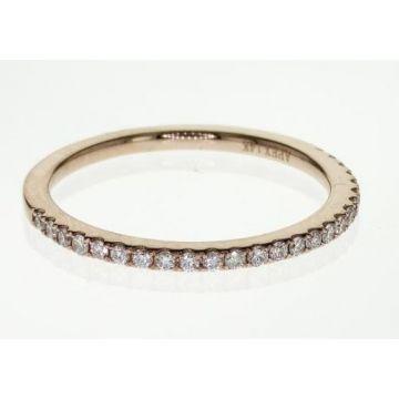 14k Straight Diamond Wedding Band-Rose