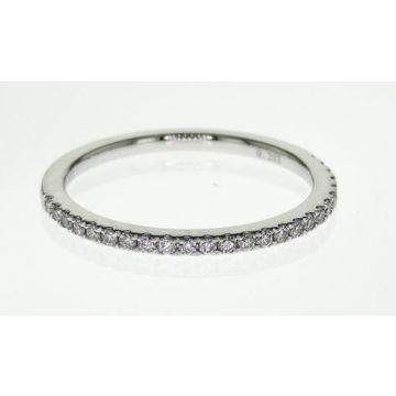 14k Straight Diamond Wedding Band-White